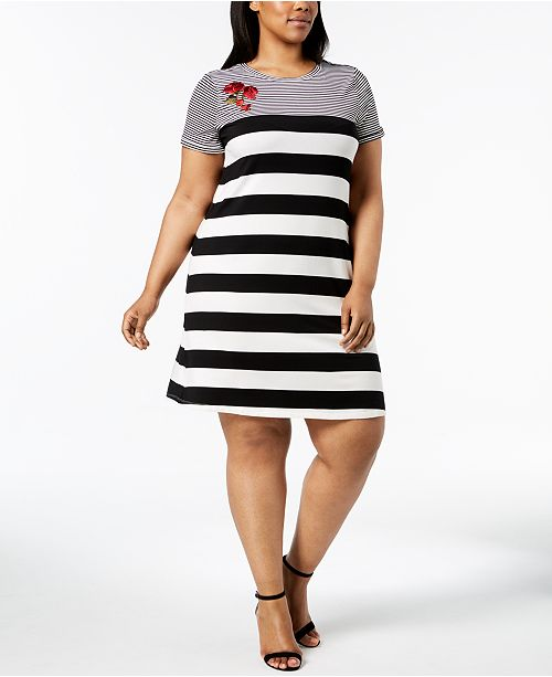 Calvin Klein Plus Size Embroidered Striped Shift Dress Dresses