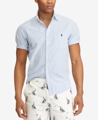 Ralph Lauren Men/'s Seersucker Button-down Shirt Short Sleeve Pony Logo Cotton