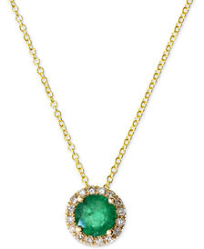 "Final Call by EFFY® Emerald (1/2 ct. t.w.) & Diamond Accent 18"" Pendant Necklace in 14k Gold"
