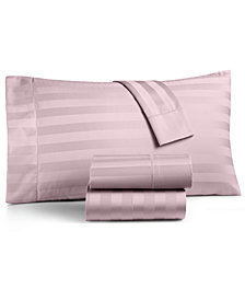 Charter Club Damask Stripe Standard Pillowcase Set, 550 Thread Count 100% Supima Cotton, Created for Macy's