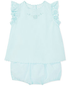 Polo Ralph Lauren Baby Girls Cotton Eyelet Top & Bloomer Set