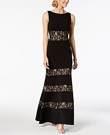 Vince Camuto Sleeveless Lace-Striped Gown