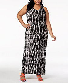 Planet Gold Trendy Plus Size Printed Maxi Dress