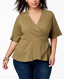 Say What? Trendy Plus Size Wrap Top