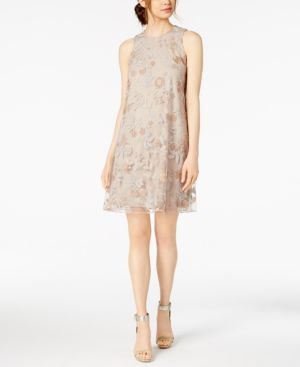 EMBROIDERED TRAPEZE DRESS