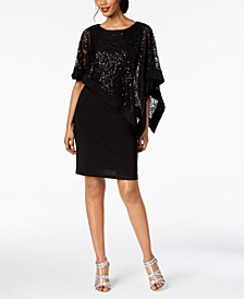 Sequined Cape Sheath Dress