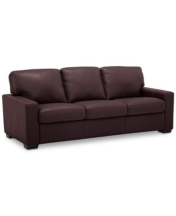 """Furniture Ennia 82"""" Leather Sofa, Created for Macy's"""