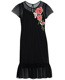 Rare Editions Big Girls Floral Appliqué Mesh Dress