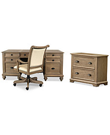 Brompton Home Office, 3-Pc. Furniture Set (Executive Desk, File Cabinet & Upholstered Desk Chair)