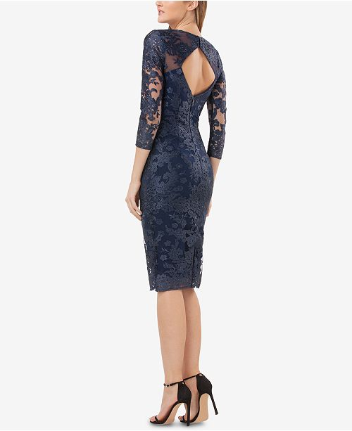 Navy Sheath Dress Collections Embroidered Lace JS qXtfxvzww
