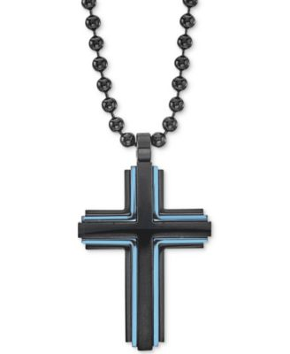 """Men's Two-Tone Beaded Cross 22"""" Pendant Necklace in Matte Black & Blue Ion-Plated Stainless Steel"""