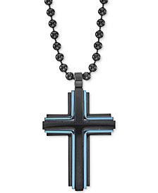 "Men's Two-Tone Beaded Cross 22"" Pendant Necklace in Matte Black & Blue Ion-Plated Stainless Steel"