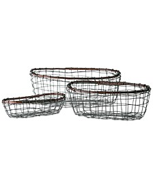 Set Of 3 Oval Wire Baskets