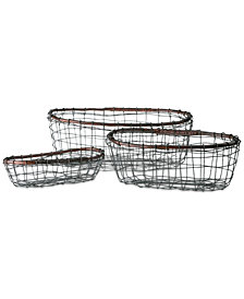 Tabletops Unlimited Set Of 3 Oval Wire Baskets