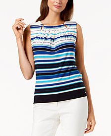 Tommy Hilfiger Striped Pleated-Neck Shell