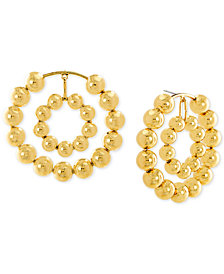 Steve Madden Beaded Double Hoop Drop Earrings
