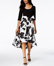 R & M Richards  Regular Floral & Solid High-Low Dress
