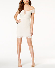 GUESS Hana Off-The-Shoulder Crochet Bodycon Dress