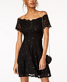 Jump Juniors' Lace Off-The-Shoulder Fit & Flare Dress