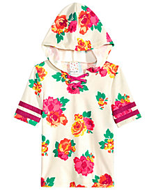 Belle Du Jour Big Girls Floral-Print Hooded Lace-Up Top