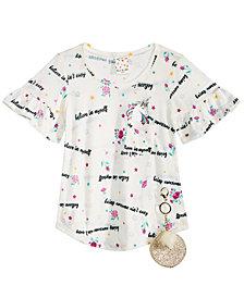 Belle Du Jour Big Girls 2-Pc. Printed T-Shirt & Keychain Set