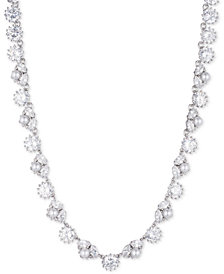 "Marchesa Silver-Tone Crystal & Imitation Pearl 16"" Collar Necklace, Created for Macy's"