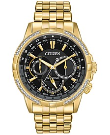 Eco-Drive Men's Calendrier Diamond-Accent Gold-Tone Stainless Steel Bracelet Watch 44mm