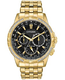 Citizen Eco-Drive Men's Calendrier Diamond-Accent Gold-Tone Stainless Steel Bracelet Watch 44mm