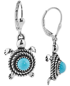 American West Turquoise Turtle Drop Earrings (2-5/8 ct. t.w.) in Sterling Silver