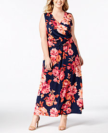 NY Collection Plus & Petite Plus Size Printed Surplice Maxi Dress