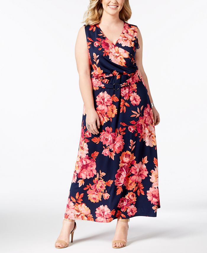NY Collection - Plus Size Printed Surplice Maxi Dress