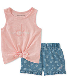 Calvin Klein Little Girls 2-Pc. Tie-Front Tank Top & Denim Shorts Set