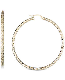 Textured Hoop Earrings in 14k Gold