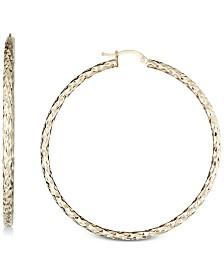 Textured Hoop Earrings in 14k Gold