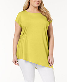 Eileen Fisher Plus Size Stretch Jersey Asymmetrical Tunic