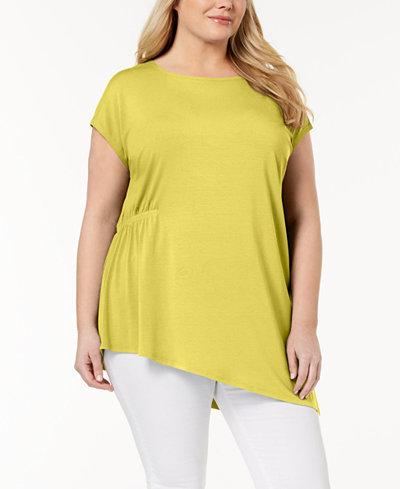 Eileen Fisher Plus Size Stretch Jersey Asymmetrical Tunic