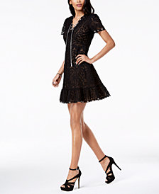 MICHAEL Michael Kors Embroidered Mesh Flounce Dress