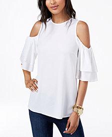 MICHAEL Michael Kors Cold-Shoulder Flounce Top, Regular & Petite, Created for Macy's