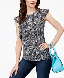 MICHAEL Michael Kors Leopard-Print Ruffle-Sleeve Top, Regular & Petite