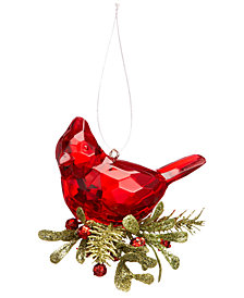 Ganz Kissing Krystals Teeny Cardinal Ornament with Red Berries