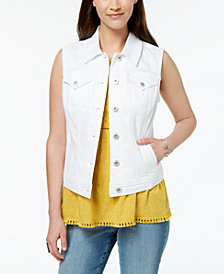 Style & Co Pocketed Denim Vest, Created for Macy's