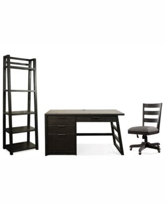 Ridgeway Home Office Furniture, 3-Pc. Set (Single Pedestal Desk, Wood Back Chair, & Leaning Bookcase)