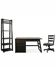 Ridgeway Home Office 3-Pc. Set (Single Pedestal Desk, Wood Back Chair, & Leaning Bookcase)