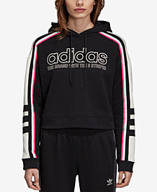adidas Originals Cotton Colorblocked Logo Cropped Hoodie