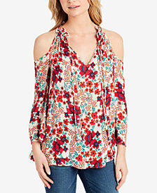 Jessica Simpson Juniors' Gloria Printed Cold-Shoulder Blouse