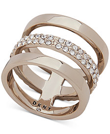 DKNY Gold-Tone Pavé Triple Row Ring