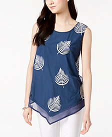 Alfani Petite Embroidered Pointed-Hem Top, Created for Macy's