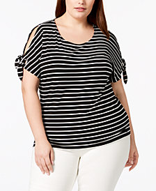 Calvin Klein Plus Size Striped Cold-Shoulder Top