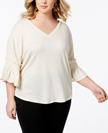 Love Scarlett Plus Size Smocked-Ruffle Sleeve Top