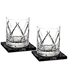 Olann Double Old Fashioned Glass Pair with 2 Marble Coasters
